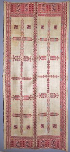 RARE MUSEUM MID-1800 ANTIQUE PALESTINIAN HEMP + SILK EMBROIDERY SHAWL TYRIAN DYE