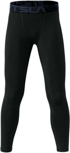 TSLA Youth UPF 50+ Baselayer Compression Pants, Cool Dry Active Running Tights