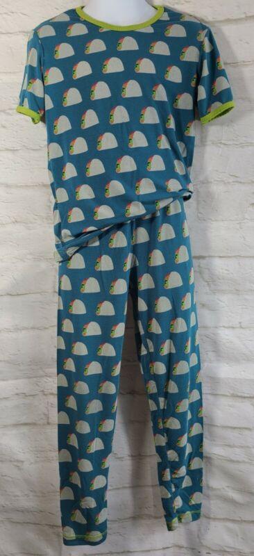 Kickee Pants Short Sleeve Pajamas Size 8 Blue Tacos Long Pants Bamboo Viscose