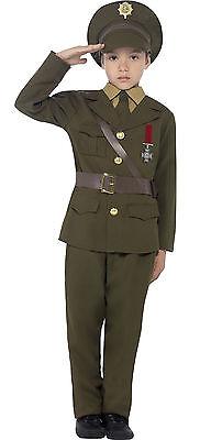Smiffys Boys Childs Army Officer Uniform WW2 WW1 1940s Costume Outfit 7-12 - Ww2 Costumes Kids