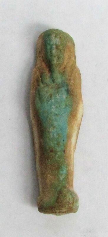 664 – 343 BC ANCIENT EGYPT LATE PERIOD USHABTI FAIENCE FUNERARY FIGURINE COA