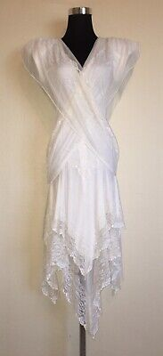 Climax David Howard Off White Ruched Lace Dress With Handkerchief Hem Size - Dress With Handkerchief Hem