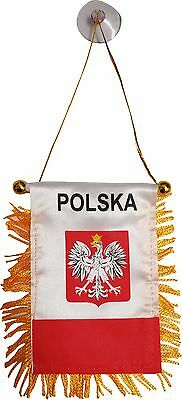 "Poland Polish Polska banner mini flag w/suction cup car window hanger 4""x6"""