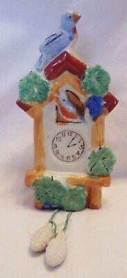 Vintage Blue Bird Cuckoo Clock Lustreware Wall Pocket Planter