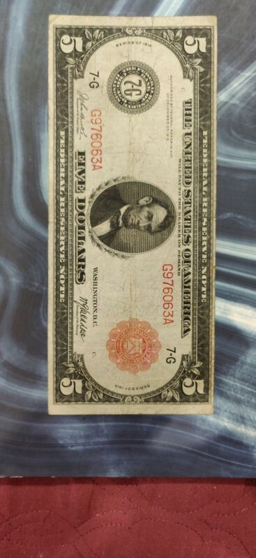 1914 $5  Red Seal  Federal Reserve  Chicago Illinois