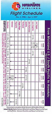 HAWAIIAN AIRLINES - US MAINLAND & SOUTH PACIFIC TIMETABLE - 1 DECEMBER 1996