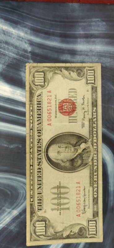 Series of 1966 $100 Red Seal United States Note A00651821A