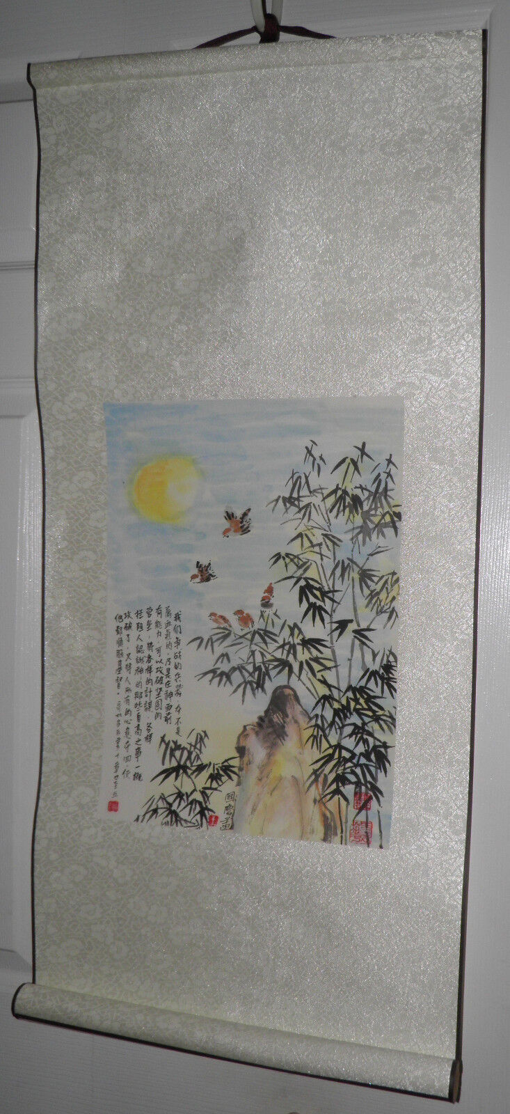 Vintage 3'foot ORIGINAL Asian SCROLL PAINTING Chinese Japanese Wall Art $5 OFF