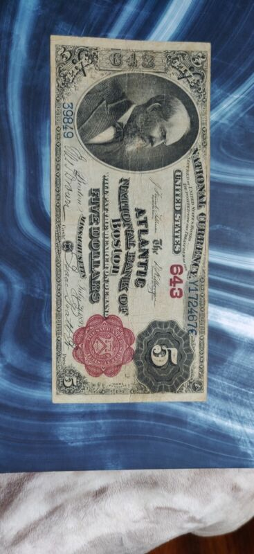 Series Of 1882 $5 National Currency Atlantic NB  Of Boston MASS