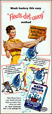 1947 Woman laundry illustrated Rain Drops Soap vintage art print ad ads63