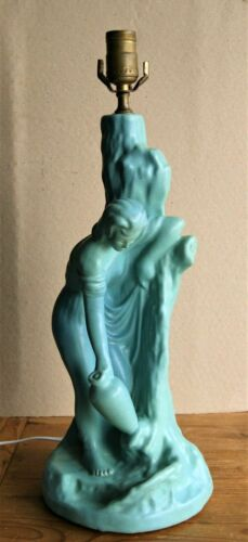 vintage Van Briggle Lamp Rebecca at the Well Turquoise Blue
