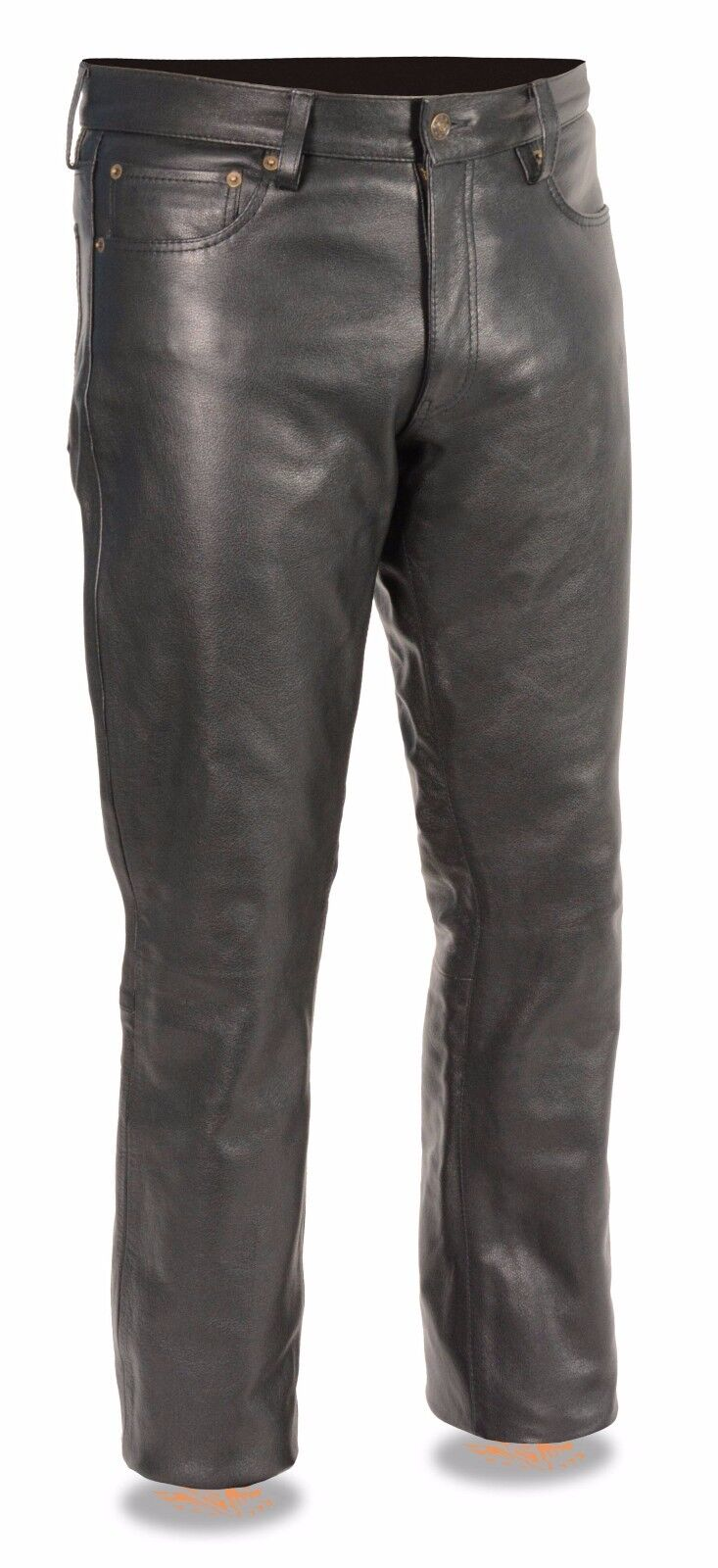 Mens Classic Black Leather 5 Pocket Motorcycle Pants