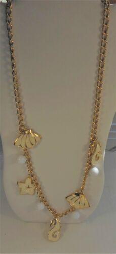 Vintage Napier Enamel Necklace Seahorse Shell Starfish Signed Nautical Gold Tone