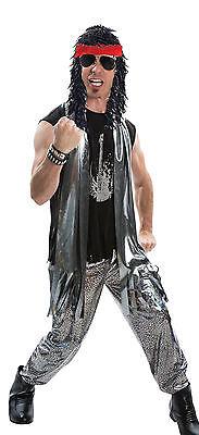 elegantes Kostüm Rocker Silber Perücke Herren Gr. 48/52 80`s Mottoparty Fasching