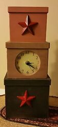 PRIMITIVE  HOME DECOR ~ Wooden Stacking Boxes Table Clock~ COUNTRY ~ KITCHEN