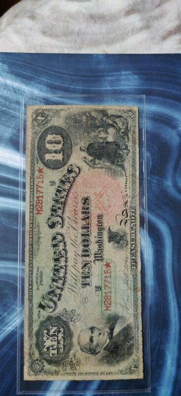 """$10 1869 Rainbow Legal Tender Large Size Note Currency """"Limp and Pinholes"""""""