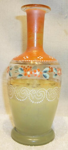 ANTIQUE Stiegel Type Glass Enamel Decorated Bottle or Vase