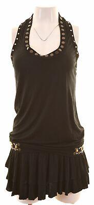 JUST CAVALLI Womens Tunic Top IT 46 Large Black Modal  KX06