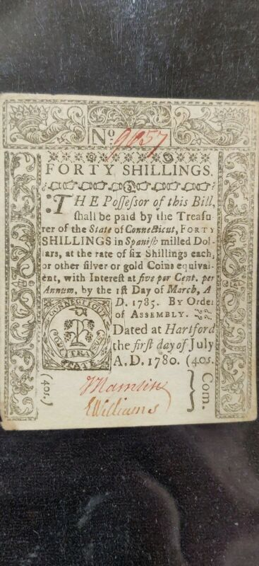 JULY 1, 1780 40s CU FORTY SHILLINGS CONNECTICUT COLONIAL CURRENCY NOTE