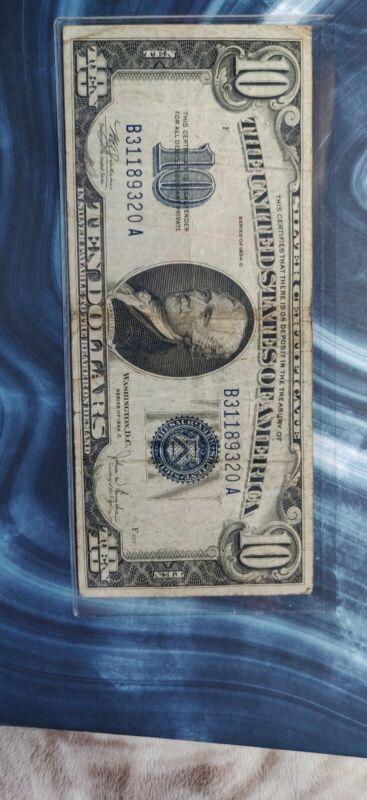 1934C $10 Silver Certificate B31189320A