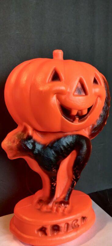 Vintage Halloween Plastic Blow Mold Lights Up Pumpkin Cat Trick Treat