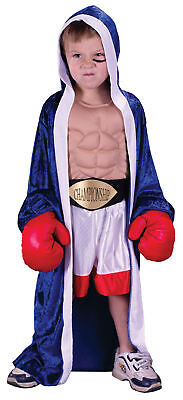 Kid Boxer Halloween Costumes (Champion Boxer Hooded Robe Child Costume Muscle Chest With Shorts)