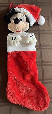 Vintage Disney Santa Mickey Mouse Christmas Stocking 3D Plush
