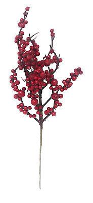 2 rami artificiali con bacche agrifoglio fiori steli 39cm decorazioni natalizie