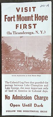 1957 Fort Mount Hope Ticonderoga, NY brochure Colonial Log Fort b