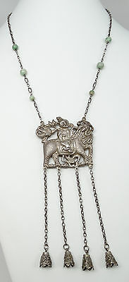Antique Chinese Silver Young Man on Qilin Jade Bead Bell Dangles Necklace