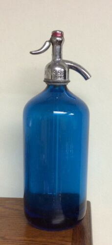 Blue Seltzer Siphon Bottle Vintage NY Manhattan mineral water