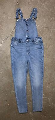 Vintage Overalls & Jumpsuits H&M Divided Skinny Fit Denim Blue Jean Light Wash Bib Overalls Size 12 EUC $20.00 AT vintagedancer.com