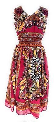 Dress Less Ladies (Ladies Sleeve Less Empire Waist Smocked Printed Maxi Dress NWT)