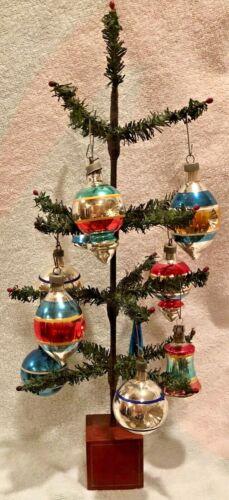 "Vintage Antique 16"" Feather Tree W Berries Wood Base 10 Premier Glass Ornaments"