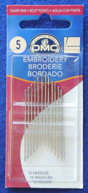 12pc DMC #1765/4 Embroidery Craft Needles Size 5 Nickel Plated Steel Sharp End