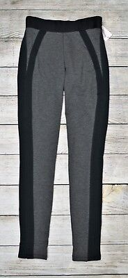 Jessica Simpson Women's Faux-Trim Legging Pants Pull-On Elastic Black Gray Small