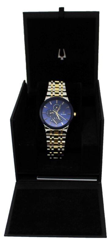 Bulova Mens Modern Stainless Steel Two-Tone Blue/Gold Watch