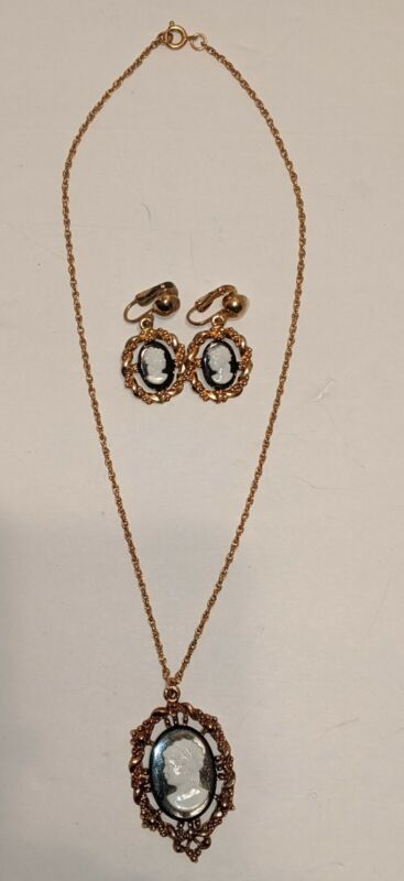 Vintage Cameo Necklace and Earring Set.  Gold Tone, Black with White Cameo
