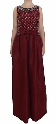 NWT $10800 DOLCE & GABBANA Dress Bordeaux Crystal Ball Gown Full IT44 / US10 / L