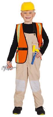 Bauarbeiter Handwerker Polier Klempner Kostüm Weste Helm Junge Kinder Werkzeug