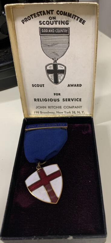 VTG PROTESTANT Boy Scout God & Country Award MEDAL SET Church Badge 50s?