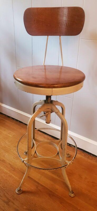 Vintage Toledo Industrial Steel Age Adjustable Drafting Stool Chair Back Support