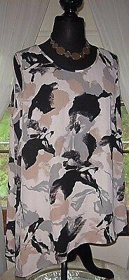 Lisa Rinna Womens Blouse Sleeveless Tunic Angled Top Print Black Brown Size 1X