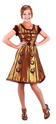 Doctor Who Dalek Dress Licensed 4 Piece Gold Dress Headpiece & Weapons Accessory