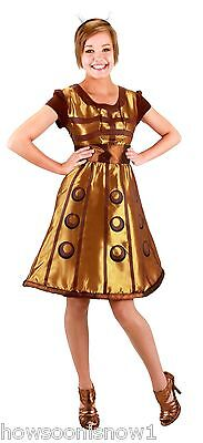 Women's Doctor Who Gold Dalek Dress Halloween Party Costume Girl S/M  New in Pkg (Girl Doctor Who Costume)
