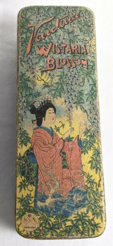 Antique AA Vantine Wistaria Blossom Box Geisha Lady Woman New York Yokohama