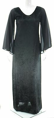 Flared Sleeve Velvet Dress (Womens Black Crush Velvet Flared Sleeve Gothic Long Dress Ladies  *LICK* )