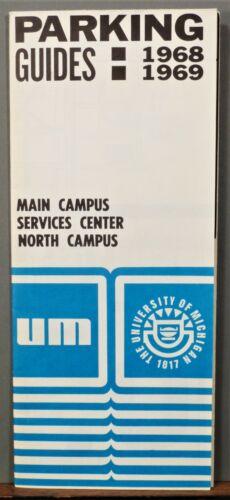 1968 69 University of Michigan UM campus map parking guide vintage brochure b