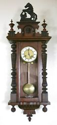 Antique Junghans Large wood carved Horse German wall clock Vienna Regulator 1880