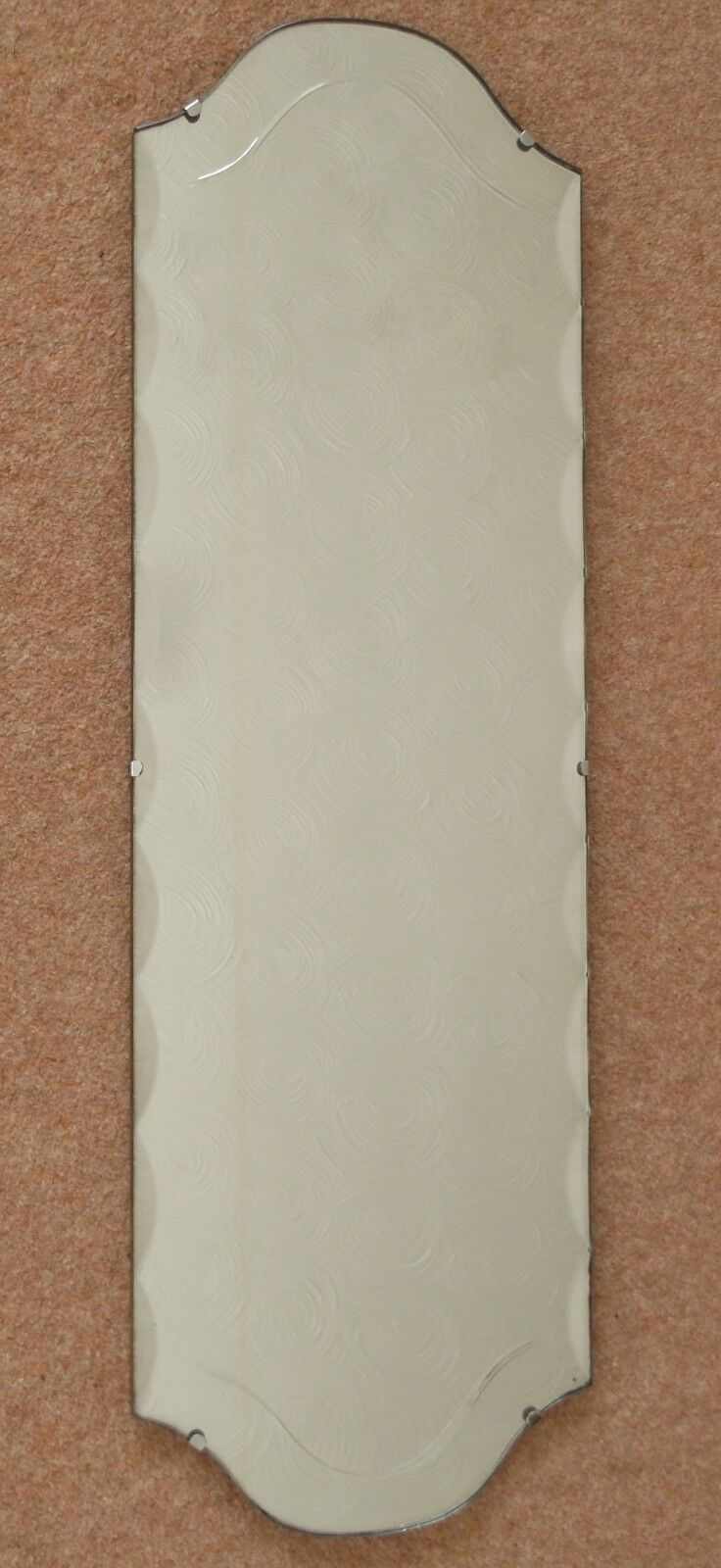VINTAGE VERY LONG FRAMELESS WOOD BACKED BEVELLED EDGE ETCHED WALL MIRROR